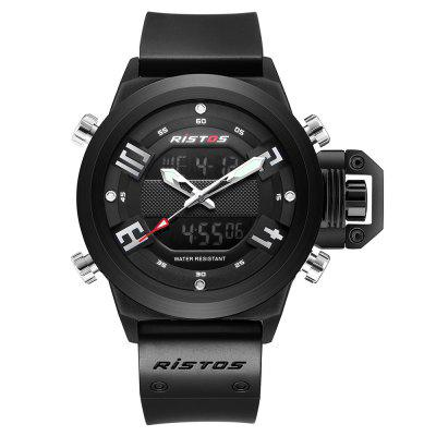 RISTOS 9391 Men Dual Display Multi-function Sports Watch Silicone Strap