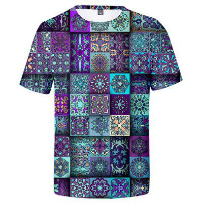 Men's T-shirt Short Sleeve Creative Retro Printing