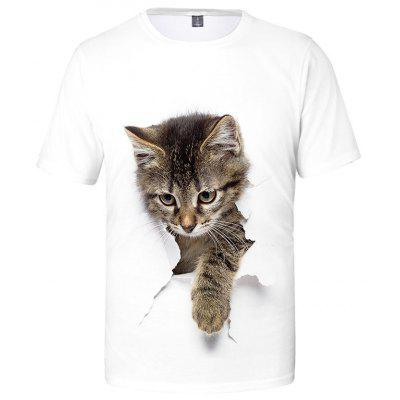 Men's T-shirt Creative Cat Print Short Sleeve