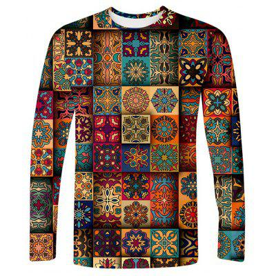 Men's T-shirt Long Sleeve Retro Stitching Printing