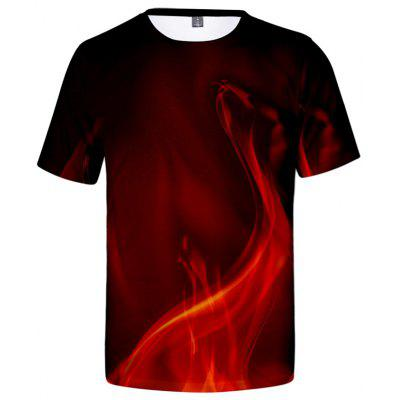 Men's T-shirt Flame Print Short Sleeve