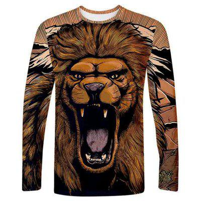 Men's T-shirt Lion Print Long Sleeve