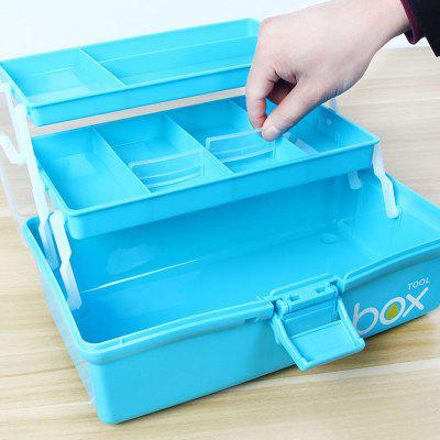 Practical Three-layer Plastic Portable Tool Storage Box
