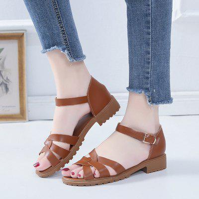 Women's Summer Thick Heel Ankle-wrap Solid Color Sandals Pin Buckle