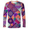 Men's T-shirt Long Sleeve Retro Stitching Printing - MULTI-C