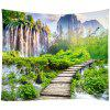 Forest Mountain Peak Pattern Home Decor Tapestry - SHAMROCK GREEN