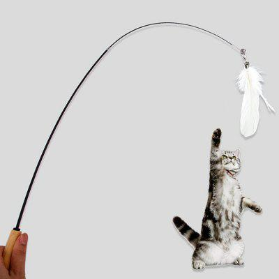 Drewniana rączka Pet Telescopic Feather Funny Cat Toy
