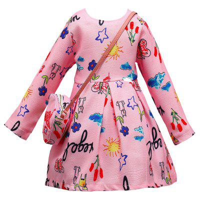 L - 395 Girl Cartoon Letter Printing Long Sleeve Dress