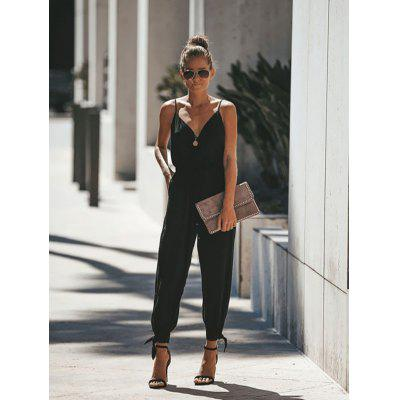 Ladies Sexy Spaghetti Strap Deep V-neck Jumpsuit Lace-up
