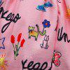 L - 395 Girl Cartoon Letter Printing Long Sleeve Dress - PINK