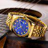 Longbo 80435 Couple Watch Men Women Simple Rhinestone Calendar Waterproof Steel Belt 2pcs - BLUE