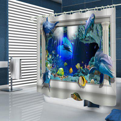3D Dolphin Turtle Home Shower Curtain