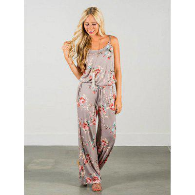 Ladies Spaghetti Strap Loose Jumpsuit Flower Print
