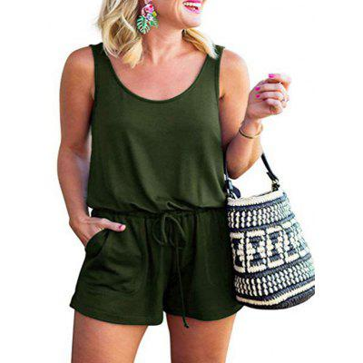 Women's Solid Color Waist Lace-up Romper Shorts Sleeveless