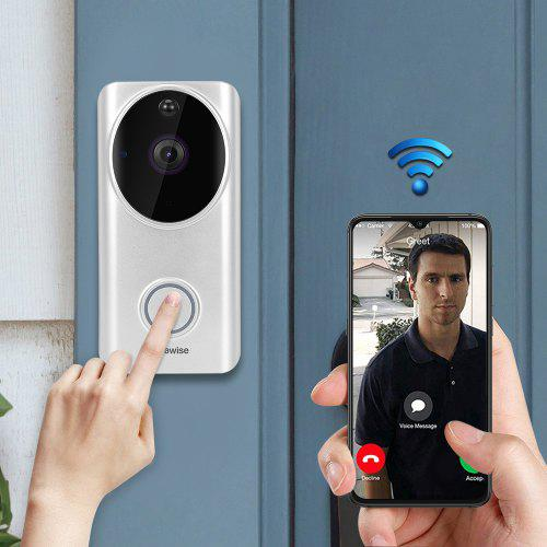 Gearbest Alfawise L9 Plus Smart Home Security 1080P WiFi Video Doorbell - Silver Wide-angle Lens / Night Vision / Two-Way Talk / PIR Motion Detection / Works with Alexa Echo Show / Cloud Storage