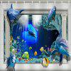 3D Dolphin Turtle Home Shower Curtain - SKY BLUE