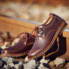 Men's Leather Hand Stitching Working Casual Shoes Comfortable Breathable - DEEP BROWN