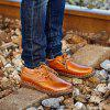 Men's Leather Hand Stitching Working Casual Shoes Comfortable Breathable - LIGHT BROWN