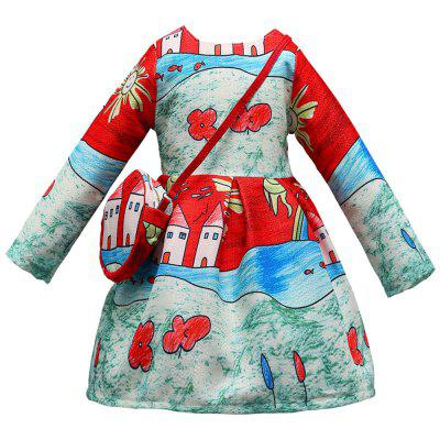 L - 396 Girl Oil Painting Print Long Sleeve Dress with Bag