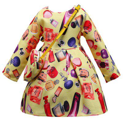 L - 393 Girls Print Long Sleeve Princess Dress with Bag