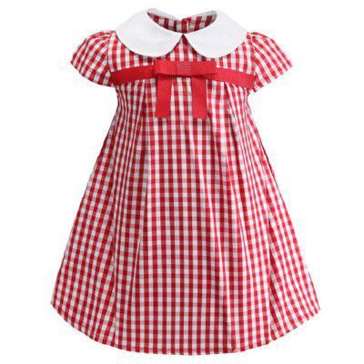 ML902 Girls Red Grid Bow Print Cotton Dress