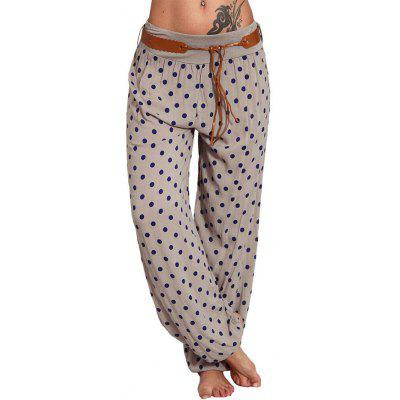 Women's Casual Polka Dot Digital Printed Wide Leg Pants Lace-up