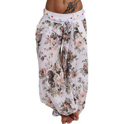 Women's Digital Flower Print Lace-up Wide-leg Pants Pocket