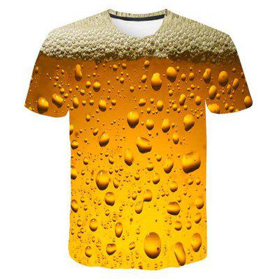 Men Fashion T-shirt 3D Print Beer Bubble Round Neck Short Sleeve