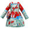 L - 396 Girl Oil Painting Print Long Sleeve Dress with Bag - RED