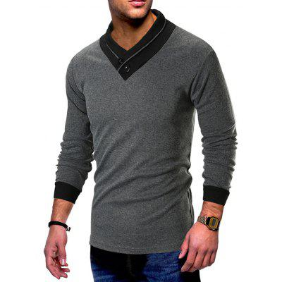Pánske tričko Slim Long Sleeve V-neck Splicing Personality
