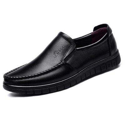Men's Solid Color Cowskin Durable Casual Shoes Slip-on