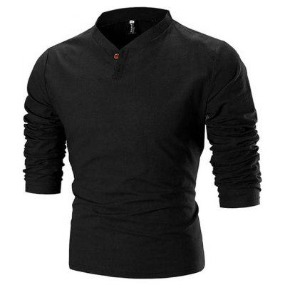 Men's T-shirt Solid Color Stand Collar Long Sleeve