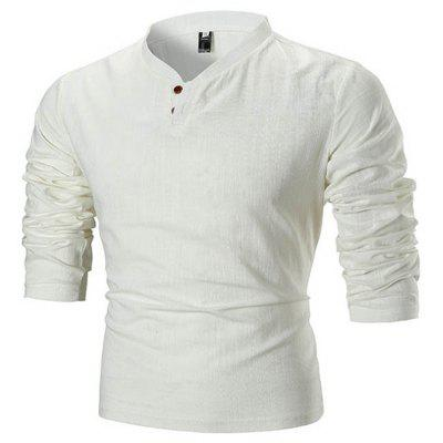 T-shirt pentru barbati Solid Colour Stand Collar Long Sleeve
