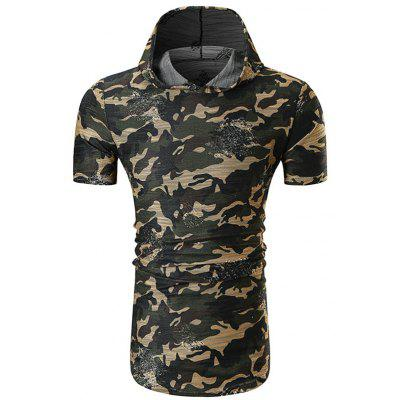 Men's T-shirt Camouflage Hole Design Hooded