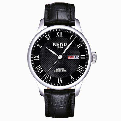READ R6029GQ Men's Concise Dial Genuine Leather Quartz Watch Waterproof
