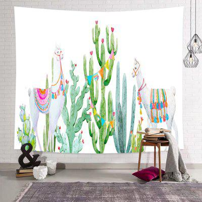 Cactus Camel Tropical Style Green Plant Print Tapestry