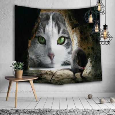Cat Mouse Cave Animal Print Polyester Tapestry