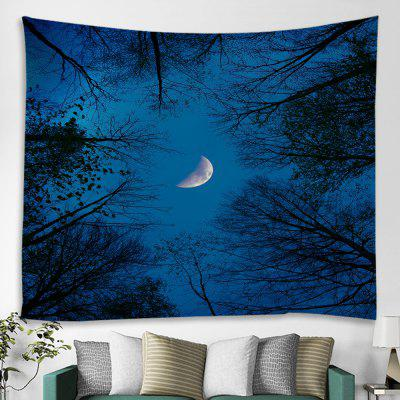 Halloween Night Sky Branches Moon Print Polyester Tapestry