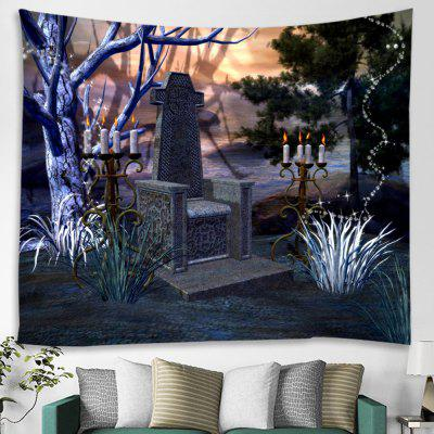 Halloween Grave Candle Print Polyester Tapestry