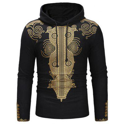 Men's Sweater Print Simple Casual Hooded Retro