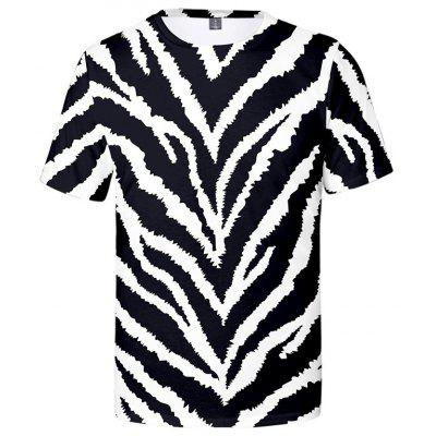 Mens T-shirt Short Sleeve 3D Zebra Print