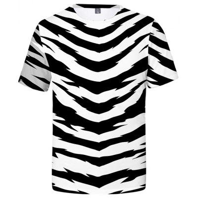 Men's T-shirt Short Sleeve 3D Zebra Print