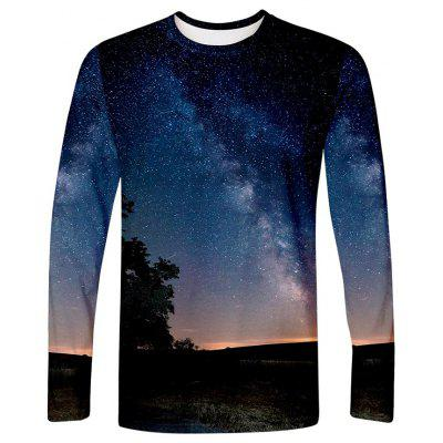 Men's T-shirt Long Sleeve 3D Landscape Print