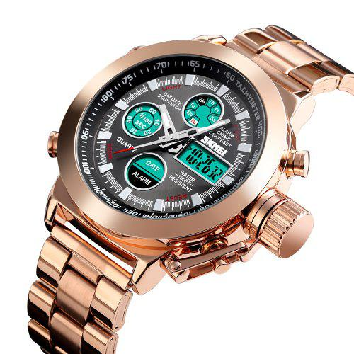 SKMEI 1515 Men's Fashion Hip Hop Style Double Display Digital Watch Stainless Steel Strap