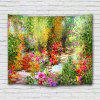 Oil Painting Colorful Flowers Country Style Tapestry - PISTACHIO GREEN