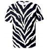 Men's T-shirt Short Sleeve 3D Zebra Print - NATURAL BLACK