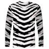 Men's T-shirt Long Sleeve 3D Zebra Print - NIGHT