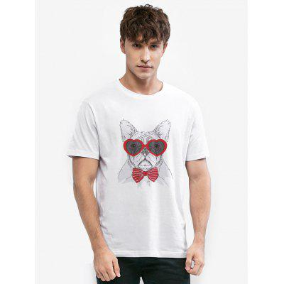 Zillife Dog With Red Glasses Printed Unisex T-shirt