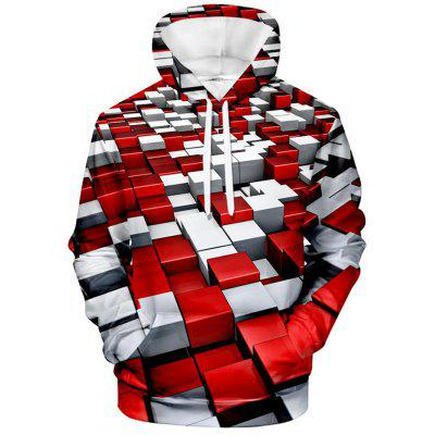 Men's Sweater Creative 3D Square Print Hoodie Long Sleeve