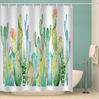 Cactus Green Plant Tropical Style Printed Waterproof Shower Curtain
